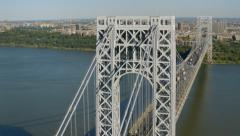 Aerial shot of George Washington Bridge, New York City Stock Footage