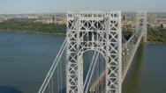 Stock Video Footage of Aerial shot of George Washington Bridge, New York City