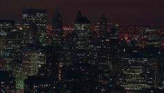 Aerial shot of New York City at night Stock Footage