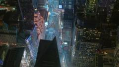 Aerial shot of Times Square New York City at night Stock Footage