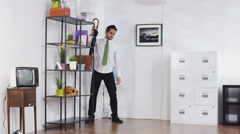 Businessman breaking office furniture under pressure and stress. Business person Stock Footage