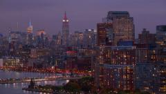 New York City, NY - October 26, 2012: Aerial shot of New York Harbor and skyline Stock Footage