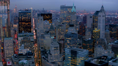 Manhattan financial district at dusk, aerial shot Stock Footage