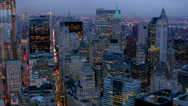 Stock Video Footage of Manhattan financial district at dusk, aerial shot
