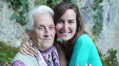 Women portrait with happy grandmother and granddaughter smilingshowing love - stock footage