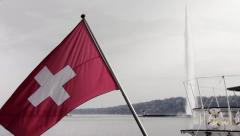 Geneva, Switzerland Flag and Jet d'Eau Stock Footage