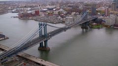Aerial shot of Manhattan Bridge, New York City Stock Footage
