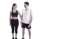 Healthy exercise man and woman on white background Stock Footage