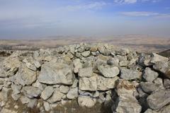 Inside of the Altar of Sacrifice on the Mount Ebal Stock Photos