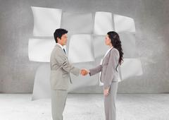 Stock Illustration of Composite image of side view of hand shaking trading partners
