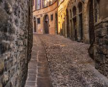 bergamo cobbled street - stock photo