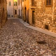 Bergamo Citta Alta cobble street - stock photo