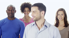 Line of young business people in casual dress on a white background. Stock Footage