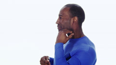 Black man with neck pain on white background Stock Footage