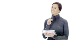 Woman taking notes on white background Stock Footage