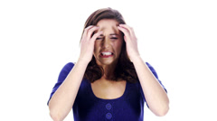 Stressed and angry woman on white background Stock Footage