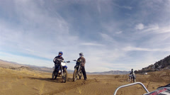 Friends on motorcycles Little Sahara Sand Dunes Utah POV HD 0030 Stock Footage