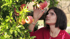 Pomegranate fruit. Woman looking pomegranate Stock Footage