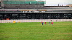 Children Playing at Berlin Tempelhof Airport Stock Footage