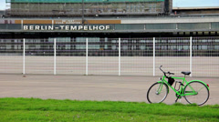 Jogging at the Tempelhof Airport Stock Footage