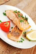 Sea food : roasted pink salmon Stock Photos