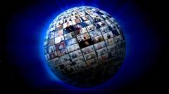 Media screen globe Stock Footage