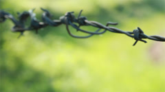 Barbed wire fence with green fields behind. An agricultural border. Shot on 5D - stock footage