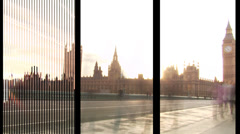 Big City Montage of people and famous landmarks in London, England. HD Stock Footage
