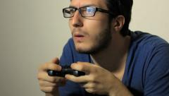Man Playing Videogames with Gamepad Stock Footage