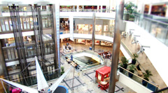 Modern city life time lapse. shoppers in busy shopping mall. High quality HD Stock Footage