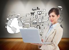 Stock Illustration of Composite image of confident businesswoman holding laptop