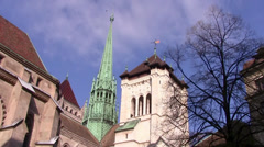 Geneva, Cathedral St-Pierre Stock Footage