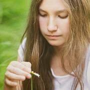young girl wonders on camomile - stock photo