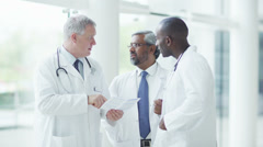 Group of doctors. Multiracial male doctors in hospital. Stock Footage