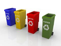 A illustration of 4 recycling containers Stock Illustration