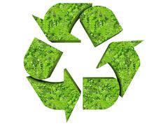 3d illustration of a green recycle symbol - stock illustration