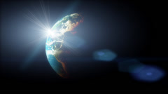 Sun lens flare over the rotating planet Earth.  Hi end 3D cgi<br>High quality HD Stock Footage