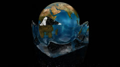3D render of correct rotating planet earth within melting ice - global warming Stock Footage