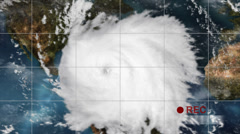 Dramatic hurricane satellite video recording, showing the storm poised to strike Stock Footage