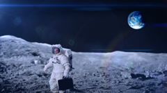 An Astronaut waiting for a lift? Planet Earth is clearly visible in the - stock footage