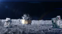 Remote astronaut working on the moon with laptop computer Stock Footage
