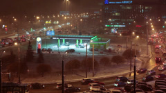 Petrol station in center of Saint-Petersburg during blizzard, Russia Stock Footage