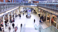 People rushing at a busy station. Timelapse Frenzy HD Stock Footage