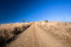 Dirt Road Blue Dry Horizon - stock photo