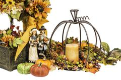 Thanksgiving and fall themed arrangement Stock Photos