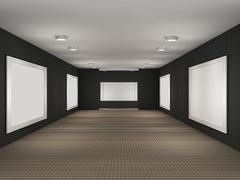 a illustration of a gallery with frames - stock illustration