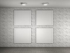 Illustration of a gallery with 4 empty frames Stock Illustration