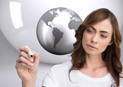 Composite image of concentrated businesswoman holding whiteboard marker Stock Illustration
