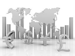 a illustration of trade currencies around the world - stock illustration