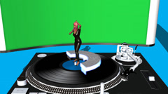 Singer Performing on Turntable (With Green screen Display) Stock Footage